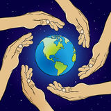 Hands over the World. An illustration of Hands covering the Earth Royalty Free Stock Photos