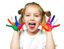 Hands in the paint. Beautiful little girl with her ??hands in the paint stock images