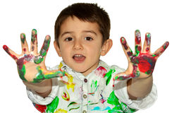 Hands in paint Stock Image