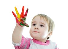 Hands painted in colorful Stock Photos