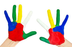 Hands painted in colorful paints Stock Images