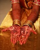 Hands painted with henna close up. Indian wedding ceremony stock image