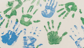 Hands painted. Stamped on paper, colorful fun. Creative, funny and artistic Royalty Free Stock Image