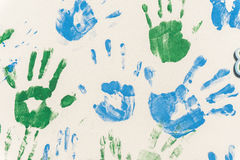 Hands painted, stamped on paper. Colorful fun. Creative, funny and artistic Royalty Free Stock Images