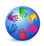 Teamwork hands on world logo Stock Photo