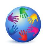 Teamwork hands on world logo stock illustration