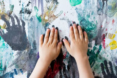 Hands painted wall with finger prints Royalty Free Stock Photography