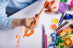 Hands of painting little boy Royalty Free Stock Photography