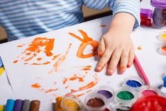 Hands of painting little boy Royalty Free Stock Image