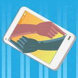 Hands painting themselves in a mobile phone in blue background Stock Photo