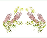 Hands painting with the watercolor leaves palm Stock Photos