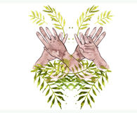 Hands painting with the watercolor leaves palm Stock Photo