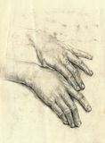 Hands, palms, drawing Royalty Free Stock Photography