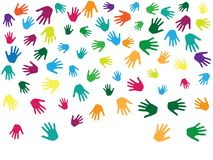 Hands, palms isolated on white vector background graphic design. Multicolored handprints - symbols of friendship, teamwork, cooperation and partnership Vector Illustration