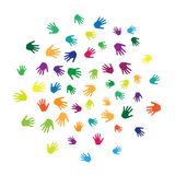 Hands, palms isolated on white vector background illustration. Colorful handprints - symbols of friendship, teamwork, cooperation and partnership. Cartoon kids Royalty Free Illustration