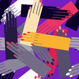 Hands palms seamless vibrant vector pattern. For wrapping, craft, textile, fabric vector illustration