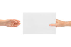 Hands and paper Royalty Free Stock Photo
