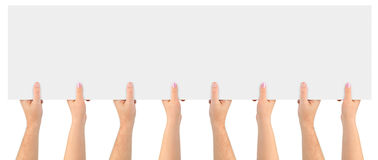 Hands and paper banner Stock Photo