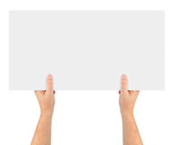 Hands and paper banner Royalty Free Stock Photo