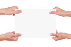 Hands and paper banner Stock Photography