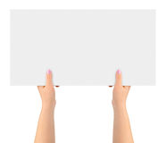 Hands and paper banner Royalty Free Stock Photos