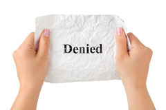 Hands and paper Denied Royalty Free Stock Photos
