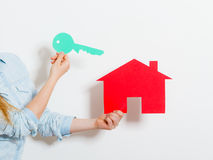 Hands and paper house. Housing real estate concept Royalty Free Stock Image
