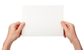 Hands and paper isolated Royalty Free Stock Image