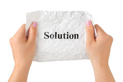 Hands and paper Solution Royalty Free Stock Images