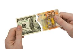 Hands and parts of bank-notes Royalty Free Stock Images