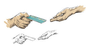 Hands passing credit card Stock Photography