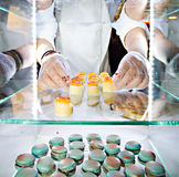 Hands of a pastry chef Stock Images