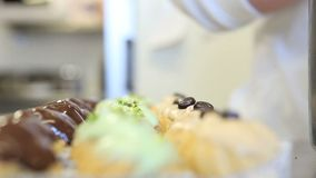 Hands pastry chef prepare pastries stock video footage