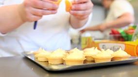 Hands pastry prepare cream fruit sweets stock video