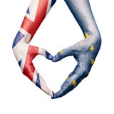 Hands patterned with the British and the European flag Royalty Free Stock Images