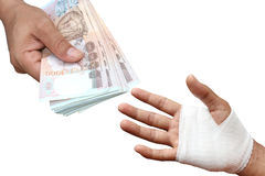 Hands pay money for Assured, insurance concept Stock Images