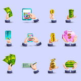 Hands payment flat icons set vector illustration