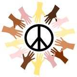 Hands & Peace. An illustration of some hands and the peace symbol Stock Images