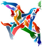 Hands peace bird. Isolated art work Stock Photo
