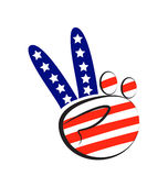 Hands peace symbol with USA flag. Colors icon logo Stock Photography