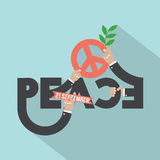 Hands With Peace Typography Design. Royalty Free Stock Photo