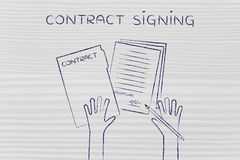 Hands with pen and signed documents, contract signing Stock Image