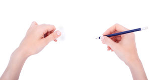 Hands with pencil drawing something Stock Image