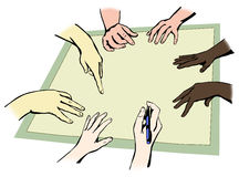 Hands of people. From different races working together in unity, vector illustration, easy to edit layers Royalty Free Stock Photography