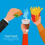 The hands of people. Holding a glass about coffee, sandwich, a package of French fries.Concept of fast food.Lunch break.3D style.Vector illustration. Flat Stock Images