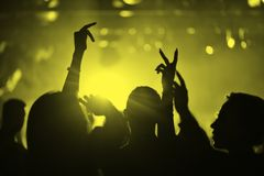 Hands of people in a nightclub. At a party Royalty Free Stock Photography