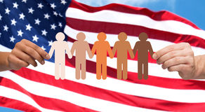 Hands with people pictogram over american flag Stock Image