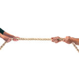 Hands of people pulling the rope on white background. Competition concept Royalty Free Stock Images