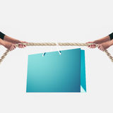 Hands of people pulling the rope on white background. Shopping concept Royalty Free Stock Photo