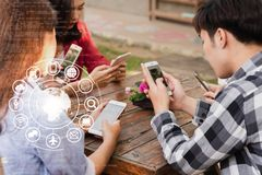 Hands of people use smartphone for connecting to various application, internet of things royalty free stock photo